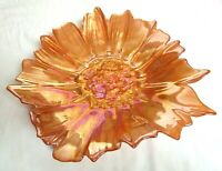 Vintage Large Stretched Glass Iridescent Gold Sunflower Dish 16""