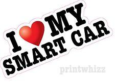 I Love Cuore mia automobile Smart Roadster stampato Adesivo Vinile Decalcomania