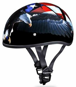 Daytona Skull Cap Freedom Eagle Flag Half Helmet Quick Release DOT XS-2XL