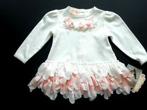 Girls NWT Baby Biscotti Flowers Ribbons Pink Petals Party Dress 6 mos NEW