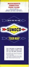 1956 Sunoco Road Map: Massachusetts Connecticut Rhode Island NOS