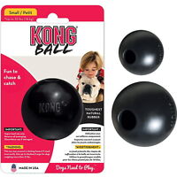 KONG Extreme Ball Dog Puppy Black Interactive Play Tough Rubber Chew Toy -2 Size