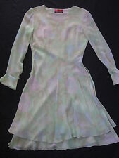 UNGARO PARIS SILK CHIFFON  TIERED DRESS FLORAL PASTEL FLOWERS