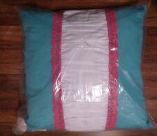"Vcny Victoria Classics Bangles & Bows Teal/Pink/White Amanda Crochet 18"" Pillow"