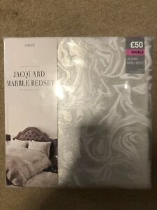 NEXT DOUBLE SIZE DUVET COVER JACQUARD LUXURIOUS MARBLE BEDSET BRAND NEW