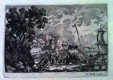 PERELLE (Adam) Recueil de six gravures sur cuivre fin XVII°s. - Reliure à décor