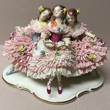 Antique DRESDEN Volkstedt Porcelain Figurine-3-Lovely Ballerina's Seated!