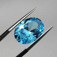 Sea Blue Zircon 10x12mm 7.58ct Oval Cut VVS AAAAA Loose Gemstone