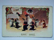 BONNE ANNEE Buon Anno GATTO cat violino old postcard vecchia cartolina