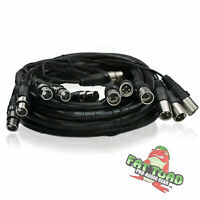XLR Snake Cable Patch - 8 Channel 20ft Pro Audio Mic Cord Mixer Sound Stage PA