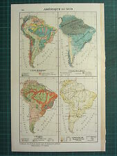 1921 MAP ~ SOUTH AMERICA ~ GEOLOGICAL POPULATION ETHNOGRAPHIC RAINFALL