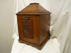 ANTIQUE ART DECO C-1920 FIRE SIDE SOLID OAK COAL, WOOD, SCUTTLE, BOX, BUCKET