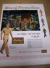 Original 1952 Dickies Work Clothes Magazine Ad - Men of Production
