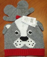 NEW CARTERS BABY BOYS GREY DOG HAT & MITTEN SET 12-24M