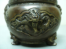 19th CENTURY CHINESE BRONZE CENSER, DRAGONS & MYTHICAL BEAST, SIGNED