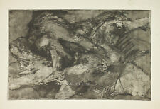 Mid Century Abstract Etching Block Print Dark Black Organic Nude Forms Vtg