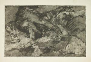 Mid Century Abstract Etching Block Print Dark Black Organic Nude Forms Vtg