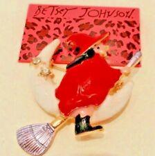 Betsey Johnson Women'Fashion Jewelry Enamel WITCH ON BROOM Brooch Pin HALLOWEEN