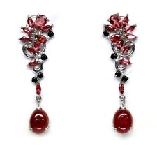 NATURAL PINK TOURMALINE RUBY & SPINEL EARRINGS 925 SILVER STERLING