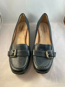 Softspots Navy Blue Leather Wedge Loafer Shoes Heels Pumps 9M