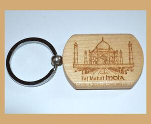 Set of Two(2) Teak Wood Engraved Taj Mahal Keychain Key Ring Souvenir from India