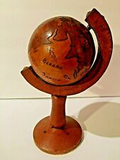 Hand Carved Wooden Table World Globe 13""