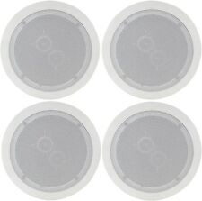 """4x Blanco Stereo 6.5"""" los altavoces de techo 100w Easy Fit Dual Tweeters Altavoz"""
