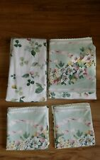 SPRINGMAID 4 Piece Twin Sheet Set  FLORAL RIBBON PRINT WITH TINY LACE EDGE