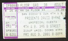 David Byrne August 3, 2001 Ticket Stub San Diego 4th & B Talking Heads