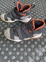 Nike Lebron Soldier XI Basketball Shoe SFG Safari Black Orange Sneaker GS Sz 5Y