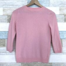 Talbots Pure Cashmere Sweater Pink 3/4 Sleeve Crewneck Ribbed Hem Womens XS