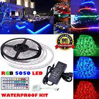 5M 10M 20M 30M SMD 5050 300LEDs RGB LED Strip Light +IR Remote +12V Power Supply