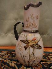 "Victorian Bristol Glass Pitcher Ewer Enamel Hand Painted 8"" Tall Antique Vintage"
