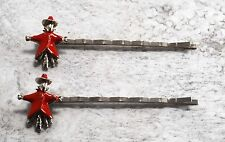 Vintage Hair Pins Scarecrow Bobby Pins Silver Plated Metal Red Enamel Accessory