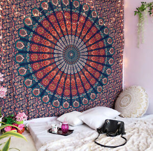 Tapestry Mandala Indian Wall Hanging Multicolor Peacock Ombre Bedspread Queen