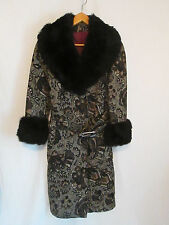 Vintage Filene's Black Tapestry Coat w/New Zealand Black Possum Collar & Cuffs