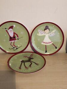 "Set of 3 Pottery Barn Kids Melamine Christmas 9"" Luncheon Plates"
