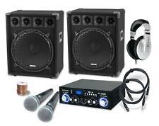 PA Anlage Karaoke Sound Lautsprecher Boxen Verstärker Mikrofon Kabel Set 1600W