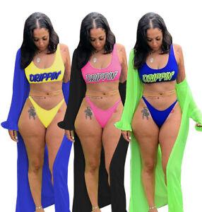 Summer Sexy Women Letter Printed Bikini & Flounce Outside Beach 3 Pcs Sets