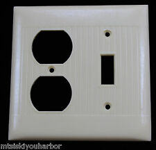 Vtg Art Deco Ivory Bakelite Uniline Wall Switch Cover Outlet Receptacle Plate