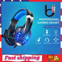 Pro Gaming Headset Mic LED Headphones Stereo Bass Surround for PC Xbox One PS4
