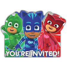 PJ MASKS DELUXE INVITATIONS (8) ~ Birthday Party Supplies Stationery Cards Notes
