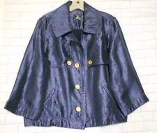 Lark Lane Blue Size 18 Satin Look Rayon Blend  Bracelet Sleeve Short Jacket
