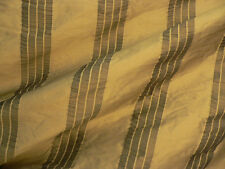 Drapery Upholstery Fabric 100% Silk Tone-on-Tone Rouched Stripe - Saffron