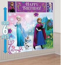 DISNEY FROZEN Scene Setter HAPPY BIRTHDAY party wall decor kit Anna Elsa Olaf