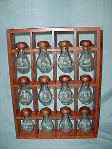 Wooden Wall Hanging Spice Rack 12 Glass Jar MCM Wood Mushroom Hourglass Vintage
