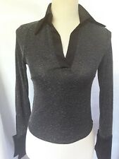 Ladies Black & Silver Fitted Sparkle Top Long Sleeved Size Small 8 10