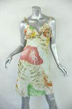 JUST CAVALLI Womens Cream Butterfly Chiffon Ruffle Sundress Sheath Dress 38/4