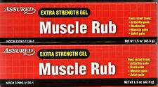 2 Tubes/1.5 oz each Assured Extra Strength Gel MUSCLE RUB - 2.5% Menthol
