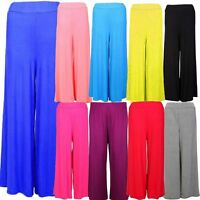 Womens Wide Leg Palazzo Trousers Ladies Flared Bottom Pants 8-16